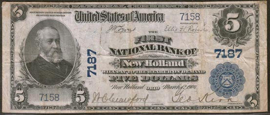 First National Bank of New Holland, Ohio, Charter 7187