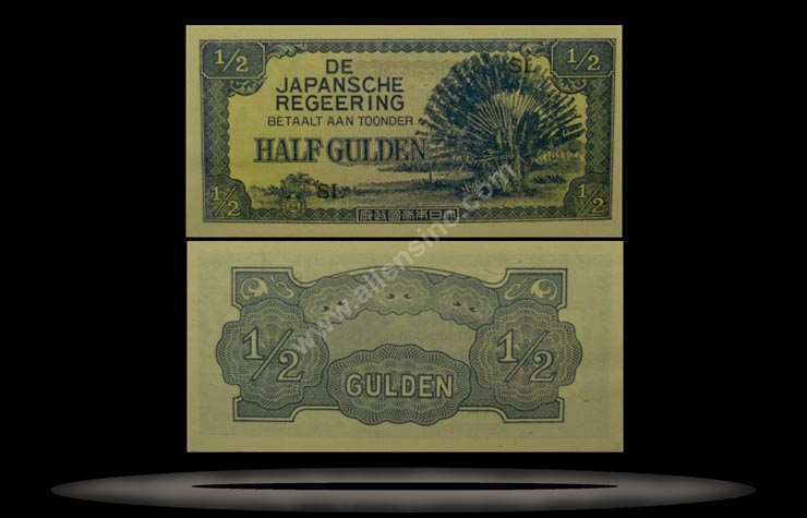 Japanese Occupation of Netherlands Indies Banknote, 1/2 Gulden, ND (1942), P#122b