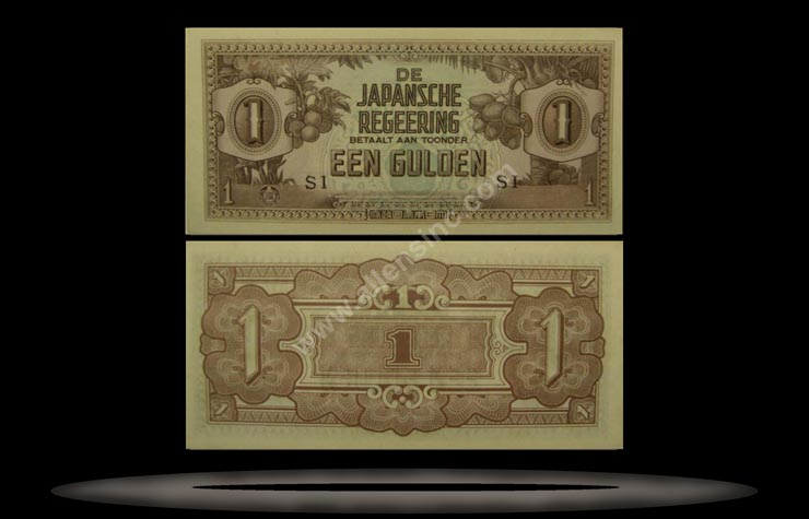 Japanese Occupation of Netherlands Indies Banknote, 1 Gulden, ND (1942), P#123c