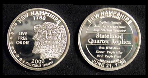 New Hampshire Quarter Replica' Art Bar.