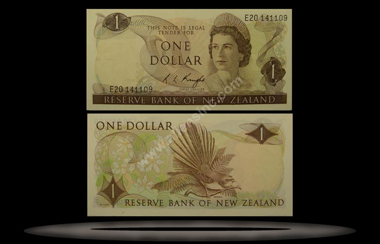 New Zealand Banknote, 1 Dollar, ND (1975-77), P#163c
