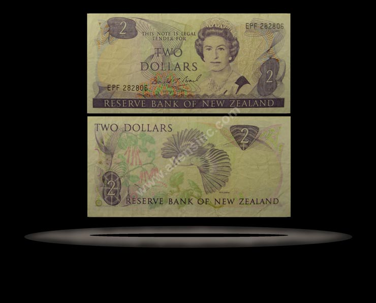 New Zealand Banknote, 2 Dollars, ND (1985-89), P#170b