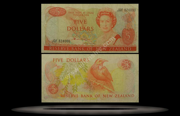 New Zealand Banknote, 5 Dollars, ND (1981-85), P#171a