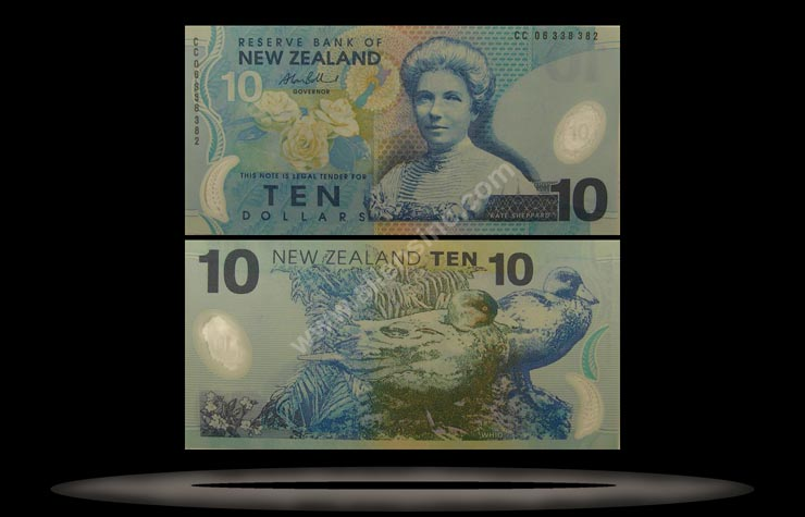 New Zealand Banknote, 10 Dollars, 1999, P#186a