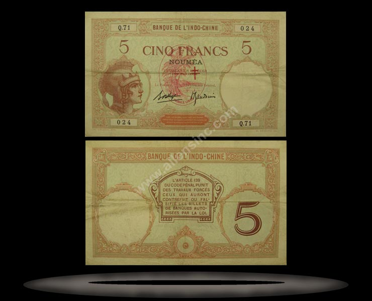 New Hebrides Banknote, 5 Francs, ND (1941), P#4b