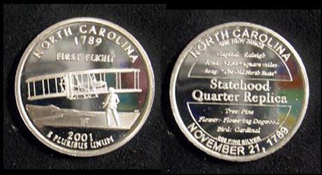 North Carolina Quarter Replica' Art Bar.