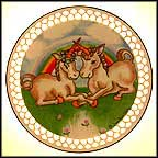 Unicorns And Rainbow Collector Plate by Joan Berg Victor MAIN