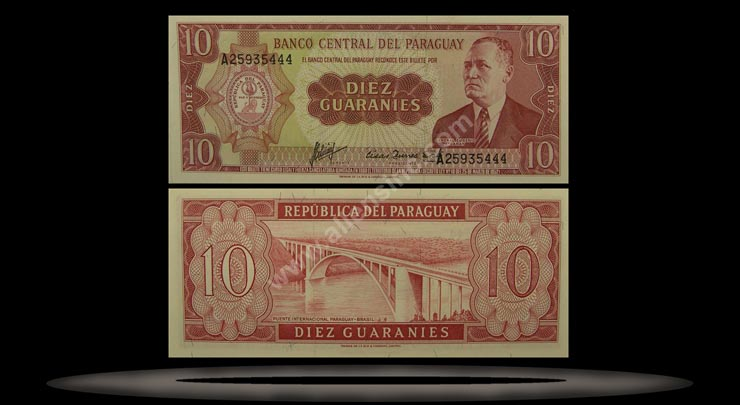 Paraguay Banknote, 10 Guaranies, L.1952, P#196a