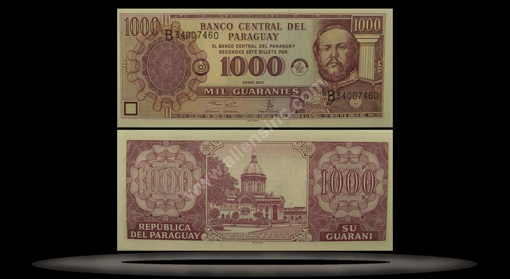 Paraguay Banknote, 1000 Guaranies, 1998, P#214a