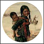 Girl With Little Brother Collector Plate by Kee Fung Ng
