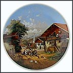 At The Village Fountain Collector Plate by Christian Lückel