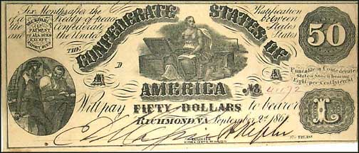 Confederate States of America $50 Note, 9/2/1861, Cat# 14-76
