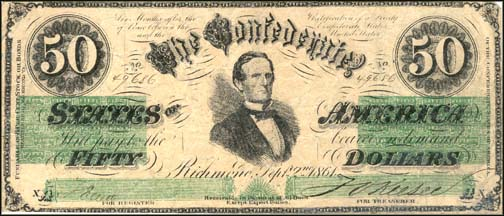 Confederate States of America $50 Note, 9/2/1861, Cat# 16-86