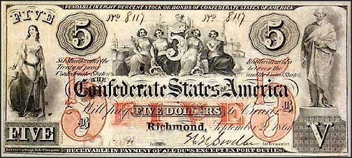 Confederate States of America $5 Note, 9/2/1861, Cat# 31-244