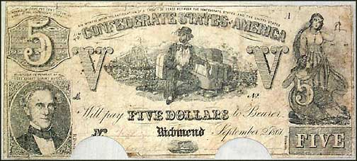 Confederate States of America $5 Note, 9/2/1861, Cat# 37-285