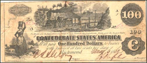 Confederate States of America $100 Note, 1862, Cat# 39-291