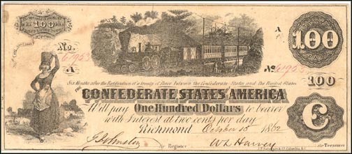 Confederate States of America $100 Note, 1862, Cat# 40-298