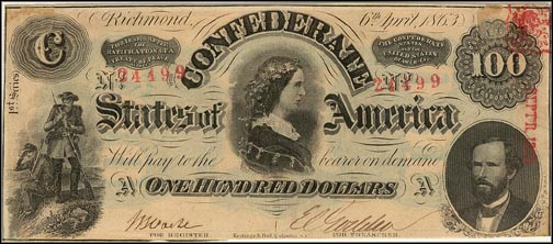 Confederate States of America $100 Note, 4/6/1863, Cat# 56-403/2