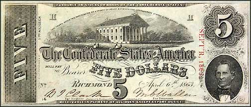 Confederate States of America $5 Note, 4/6/1863, Cat# 60-450/1
