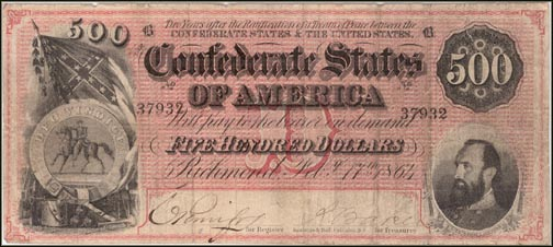 Confederate States of America $500 Note, 2/17/1864, Cat# 64-489