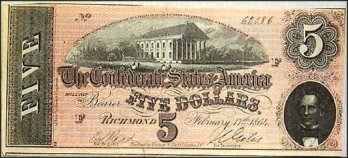 Confederate States of America $5 Note, 2/17/1864, Cat# 69-561
