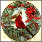 Cardinals In The Holly Collector Plate by Theresa Pantowicz MAIN