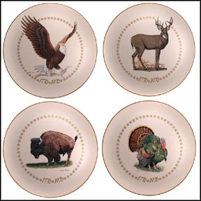 American Bald Eagle, White-Tailed Deer, Bison, Wild Turkey - set of 4 Collector Plates MAIN