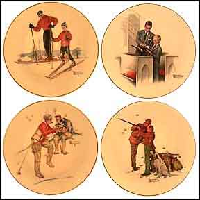 Four Seasons - Dad's Boys - Set of 4 Collector Plate by Norman Rockwell MAIN