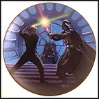 Luke Skywalker And Darth Vader Duel In The Emperor's Throne Room Collector Plate by Thomas Blackshear