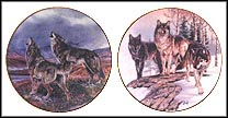 Song Of The Wolf / Lords Of The Tundra - set of 2 Collector Plate by Al Agnew MAIN