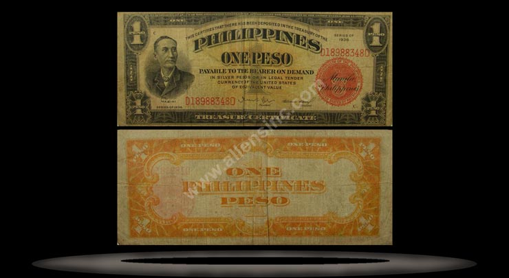 Philippines Banknote, 1 Peso, 1936, P#81 MAIN