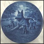 German Shepherd with Puppies Collector Plate by Toni Schoener