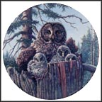 Forest's Edge: Great Gray Owls Collector Plate by James Beaudoin MAIN