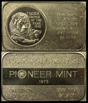 Frasier The Lion' Art Bar by Pioneer Mint. MAIN
