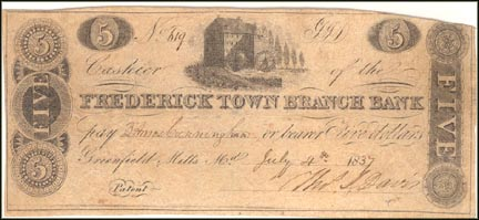Fredrick town Branch Bank, Greenfield Mills, Maryland