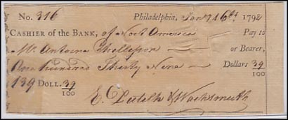 Bank of North America, check, Philadelphia, Pennsylvania