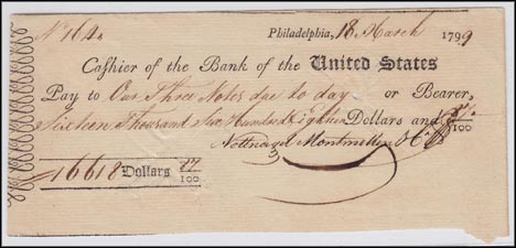 Bank of the United States, check, Philadelphia, Pennsylvania