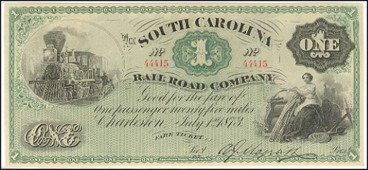 South Carolina Railroad Co - Fare, Charleston, South Carolina