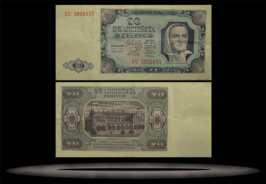 Poland Banknote, 20 Zlotych, 1.7.1948, P#137 MAIN
