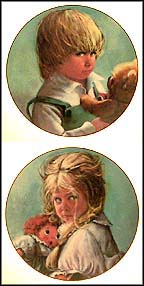 Teddy / Terry - set of 2 Collector Plate by Sue Etem