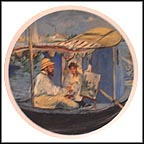 Monet Painting in His Floating Studio by Manet Collector Plate by Edouard Manet