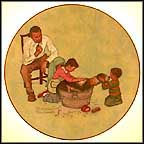 Washing Our Dog Collector Plate by Norman Rockwell