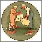 Wrapping Christmas Presents Collector Plate by Norman Rockwell
