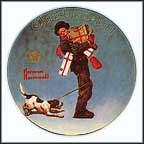 Wrapped Up In Christmas Collector Plate by Norman Rockwell