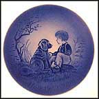 Boy With Dog Collector Plate by Mads Stage