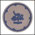 Deer And Fawn - Blue on White Jasper Collector Plate