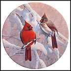 Cardinals On A Snowy Branch Collector Plate by Russell Cobane