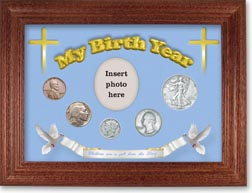 1936 'Children are a Gift from the Lord' My Birth Year Coin Gift Set with a blue background and cherry frame THUMBNAIL