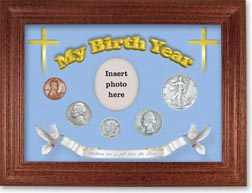 1938 'Children are a Gift from the Lord' My Birth Year Coin Gift Set with a blue background and cherry frame THUMBNAIL