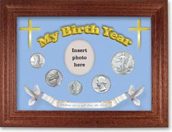 1943 'Children are a Gift from the Lord' My Birth Year Coin Gift Set with a blue background and cherry frame THUMBNAIL